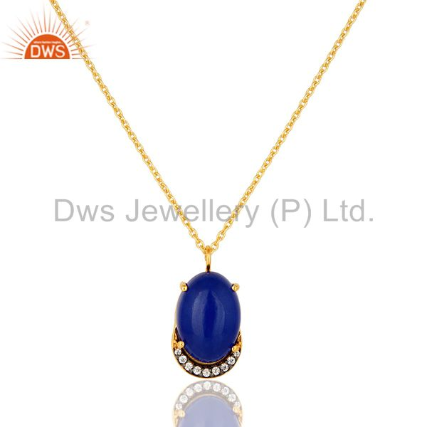 18K Gold Plated Sterling Silver Blue Aventurine And CZ Pendant Necklace