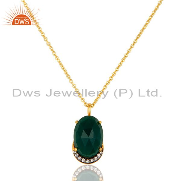 14K Gold Plated Sterling Silver Green Onyx Designer Pendant With Chain