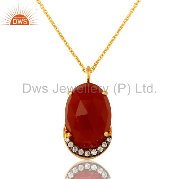 18K Gold Over Sterling Silver CZ & Red Onyx Gemstone Pendant With Chain