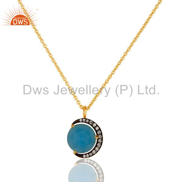14K Gold Plated Sterling Silver Blue Chalcedony Half Moon Pendant With Chain