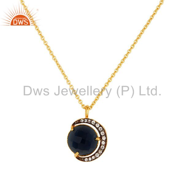 14K Gold Plated Sterling Silver Blue Corundum Half Moon Pendant With Chain