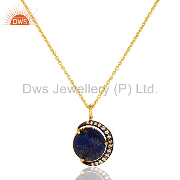 Lapis Lazuli And CZ 18K Gold Over Sterling Silver Crescent Moon Pendant Chain