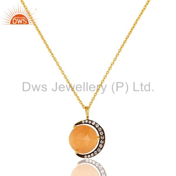 Gold Plated Silver Peach Moonstone And CZ Half Moon Design Pendant With Chain