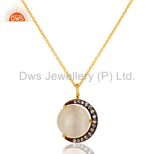 White Moonstone And CZ 18K Gold on Sterling Silver Crescent Moon Pendant Chain