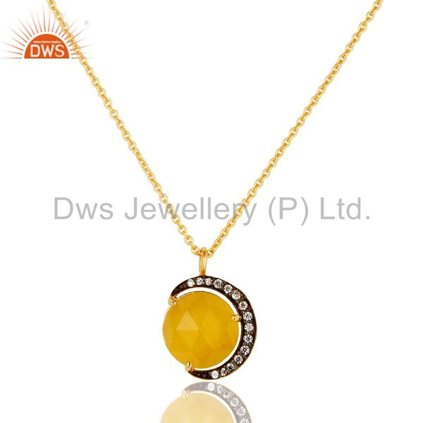 14K Gold Plated Sterling Silver Yellow Moonstone Half Moon Pendant With Chain