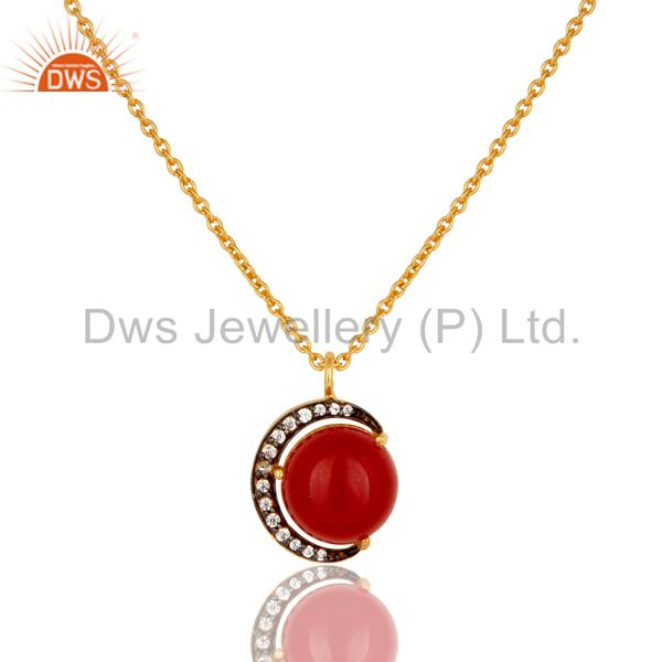 22K Yellow Gold Plated Sterling Silver Red Aventurine And CZ Pendant Necklace