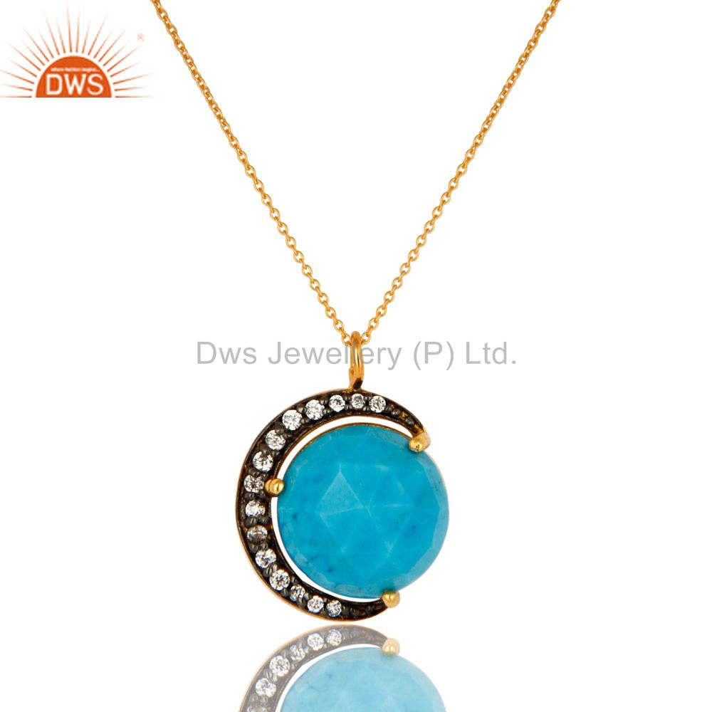 14K Gold Plated Sterling Silver CZ And Turquoise HAlf Moon Pendant With Chain