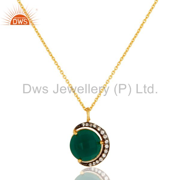 Green Onyx & CZ 18K Gold Plated Sterling Silver Half Moon Pendant With Chain