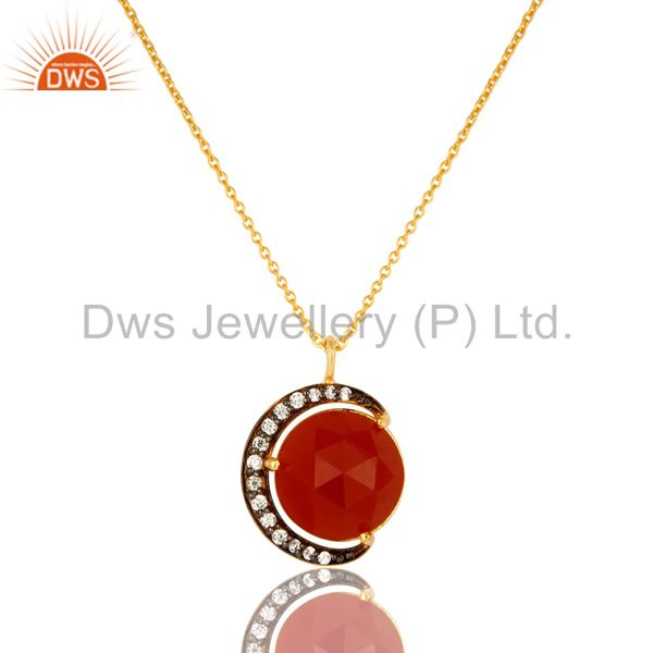 18K Yellow Gold Plated Sterling Silver Red Onyx And CZ Half Moon Pendant Chain
