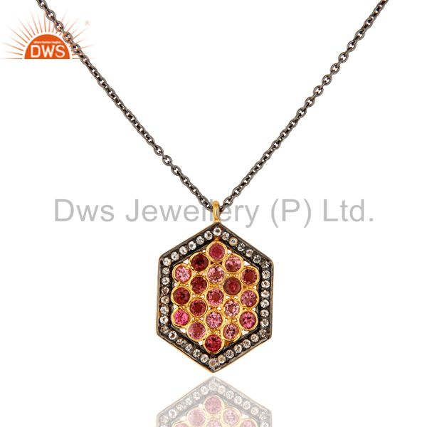 Pink Tourmaline Sterling Silver Pave Diamond Pendant With 16