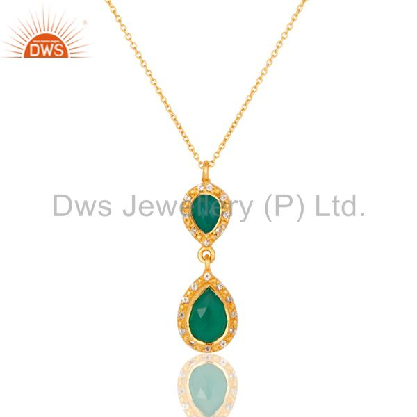 Green Onyx and White Topaz 18K Gold PLated Sterling Silver Gemstone Necklace