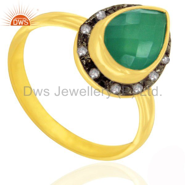 Artisan Crafted 18K Gold Over 925 Silver Green Onyx Gemstone & White Topaz Ring