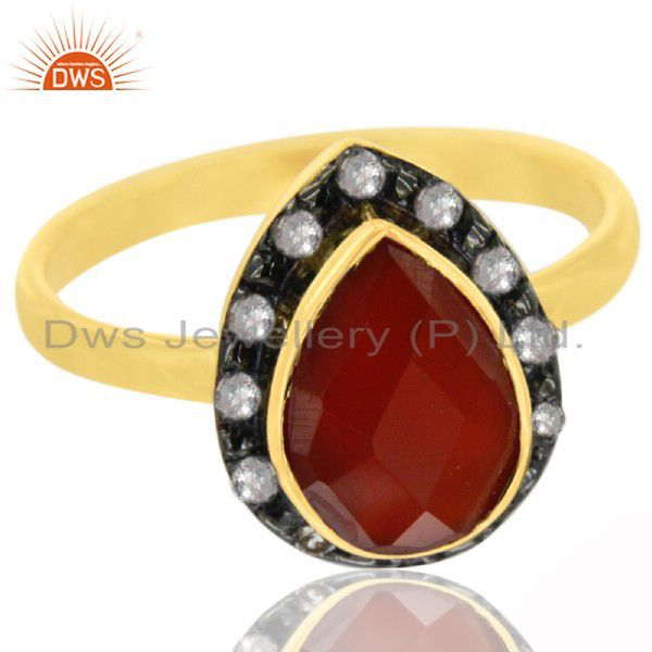 22K Yellow Gold Plated Sterling Silver Red Onyx And White Topaz Statement Ring