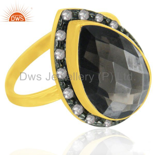 14K Yellow Gold Plated Sterling Silver Smoky Quartz And White Topaz Drop Ring