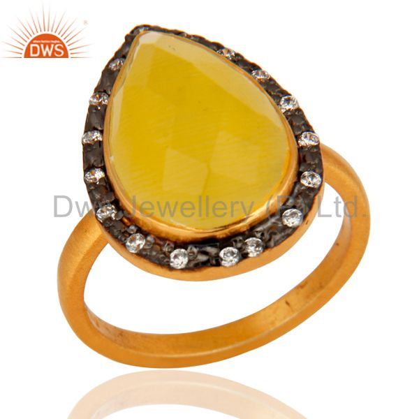 925 Sterling Silver Yellow Moonstone Gemstone Jewelry Ring With 24K Gold Plated