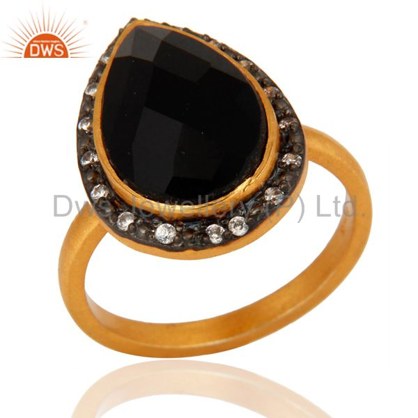 Handmade 925 Sterling Silver Black onyx Gemstone Ring With 24k Gold Plated