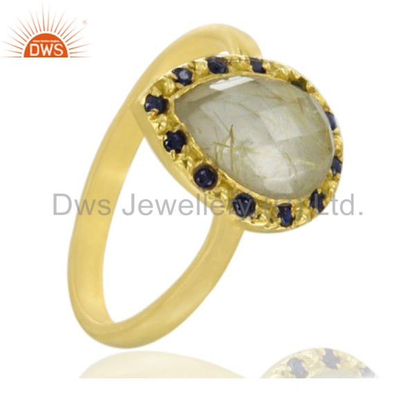 Blue Sapphire 18k Yellow Gold Plated Rutilated Quartz Gemstone 925 Silver Ring