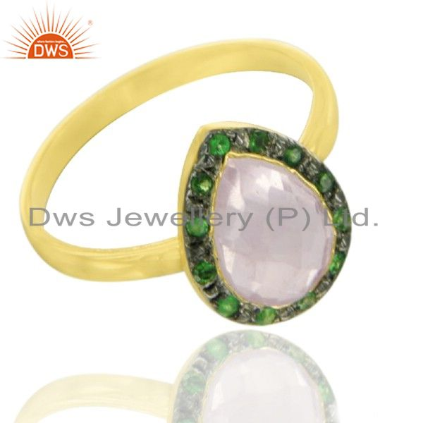 22K Yellow Gold Plated Sterling Silver Tsavorite And Ruby Stone Statement Ring