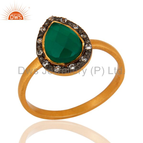 Natural Green Onyx Gemstone 925 Sterling Silver 22K Gold Plated Designer Ring