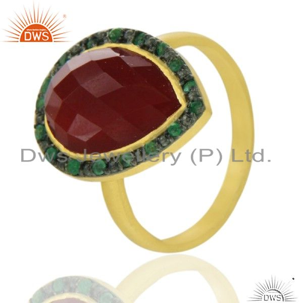 18K Yellow Gold Plated Sterling Silver Red Onyx Gemstone Ring With Emerald