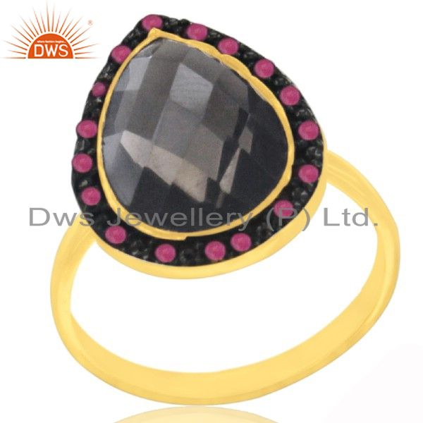 22K Gold Plated Sterling Silver Smoky Quartz Gemstone Statement Ring With Ruby