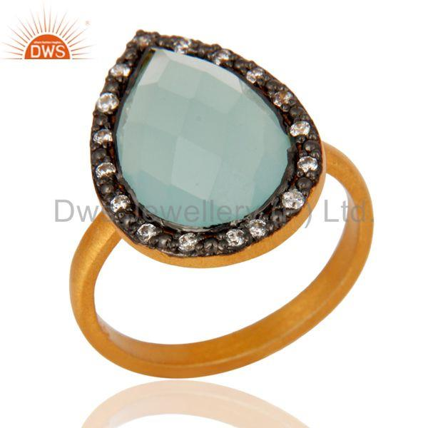 Handmade 925 Sterling Silver Blue Aqua Glass Gemstone Ring With Gold Plated