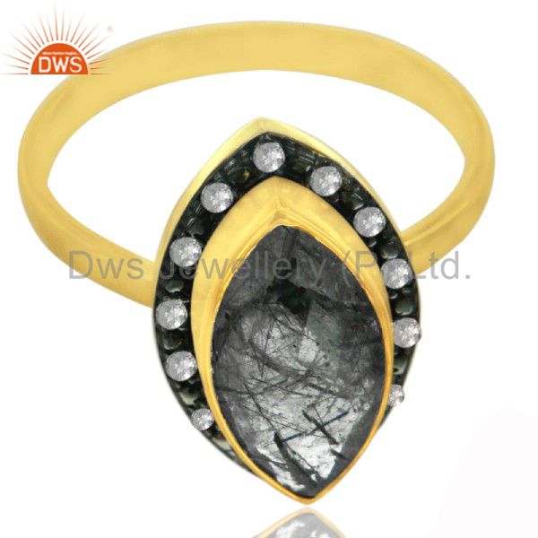 18K Gold Plated 925 Sterling Silver Tourmalated Quartz Ring With Topaz White