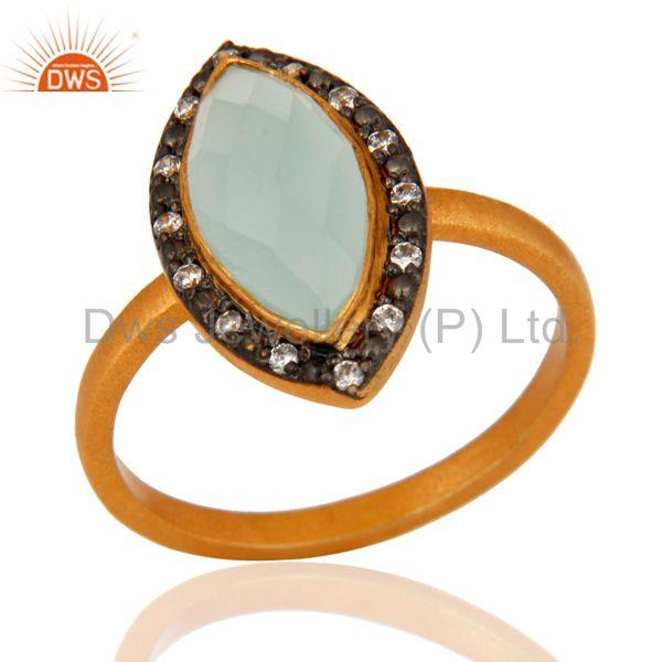 18K Yellow Gold Plated Sterling Silver Gemstone Ring With Blue Aqua Glass & CZ