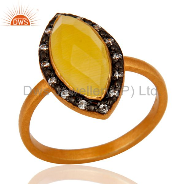22K Gold Plated 925 Sterling Silver Yellow Moonstone & CZ Designer Ring