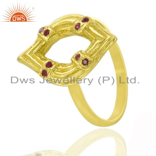 Handmade Gemstone Ruby 18k Yellow Gold over 925 Sterling Silver Ring Jewelry