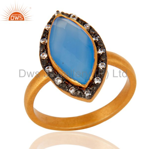 18K Gold Plated 925 Sterling Silver Faceted Aqua Blue Chalcedony Gemstone Ring