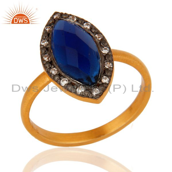 Blue Corundum Womens Fashion Ring With CZ Made In 14K Gold Over Sterling Silver