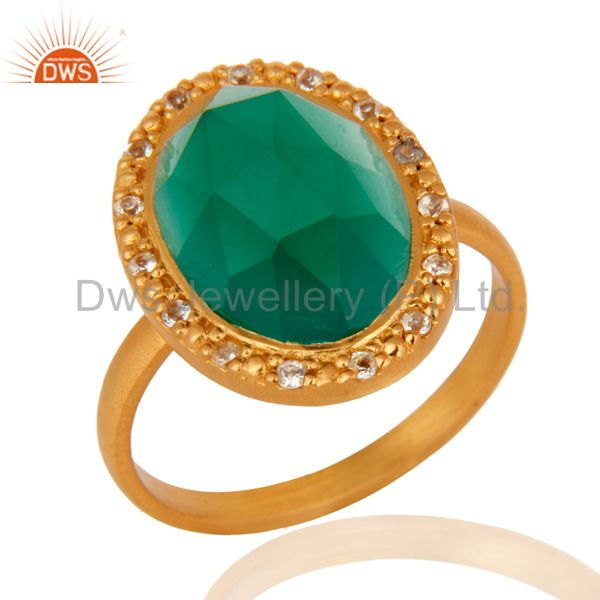24k Yellow Gold Plated Green Onyx and White Topaz Sterling SIlver Cocktail Ring