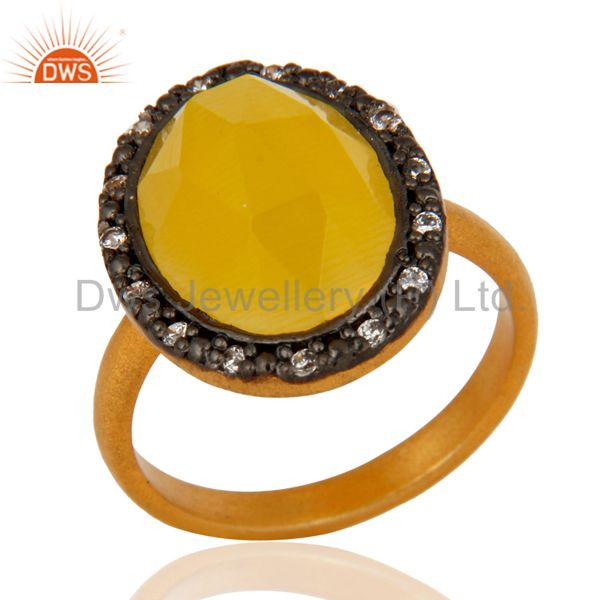 24k Gold Plated Sterling Silver Moonstone Gemstone Ring With CZ