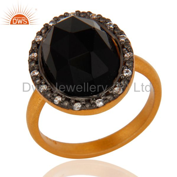 925 Sterling Silver Natural Black Onyx Gemstone Ring With 24K Gold Plated