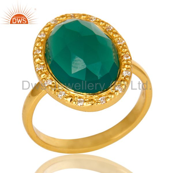 18K Yellow Gold Plated Sterling Silver Green onyx And CZ Statement Ring