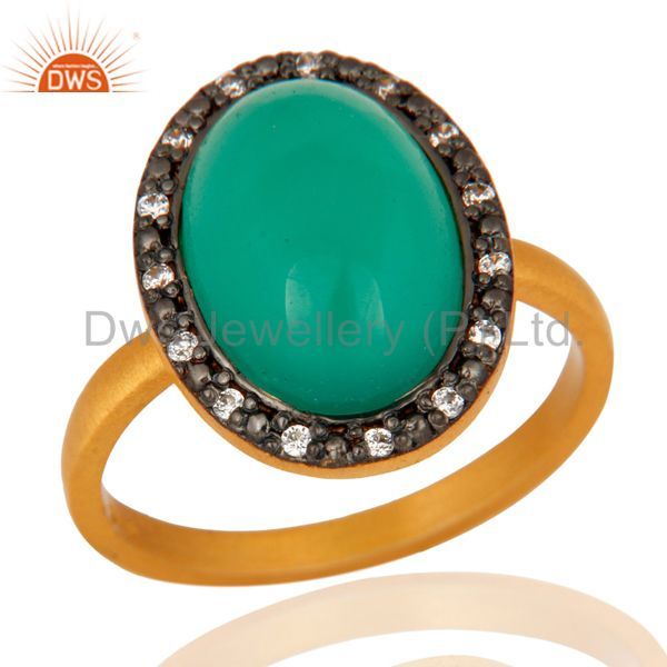 18K Yellow Gold Plated Natural Green Onyx Gemstone Sterling Silver Ring With CZ