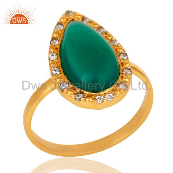 Green Onyx and White Zircon 18K Gold Plated Handmade Statement Ring
