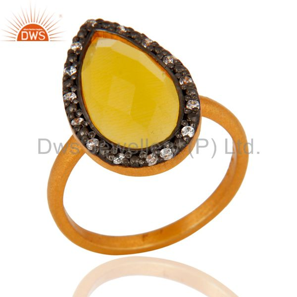 14k Gold Plated Yellow Moonstone 925 Sterling Silver Gemstone Ring With Pave CZ