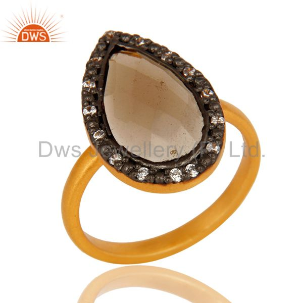 18K Gold Plated Sterling Silver Smoky Quartz And CZ Statement Stack Ring