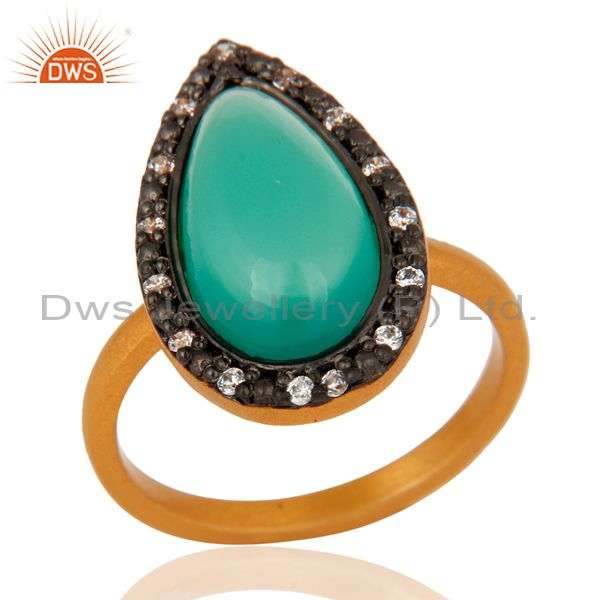 Green Onyx Cabochon Gemstone 925 Sterling Silver Gold Plated Ring With Zircon