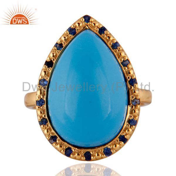 18k Gold Plated Turquoise Gemstone Blue Sapphire Sterling Silver Ring SZ 7