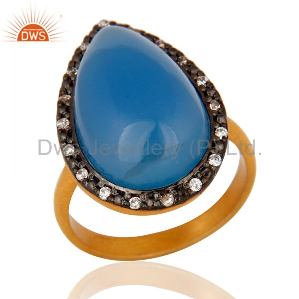 Handmade Aqua Blue Chalcedony Gemstone Gold Plated Sterling Silver Ring With CZ