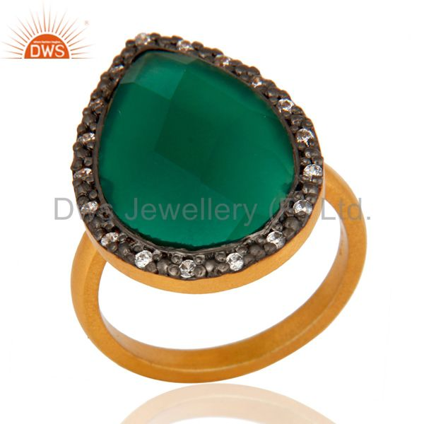Designer Sterling Silver Faceted Green Onyx Gemstone Gold Plated Fashion Ring