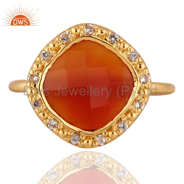 18K Gold Plated Sterling Silver Red Onyx And White Topaz Stack Ring