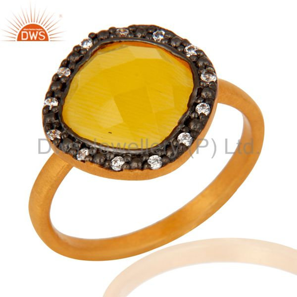 18K Gold Plated Sterling Silver Yellow Moonstone Gemstone & White Zircon Ring
