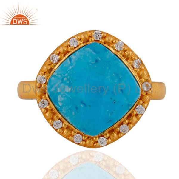 18K Yellow Gold Plated Sterling Silver Turquoise And White Zircon Stacking Ring