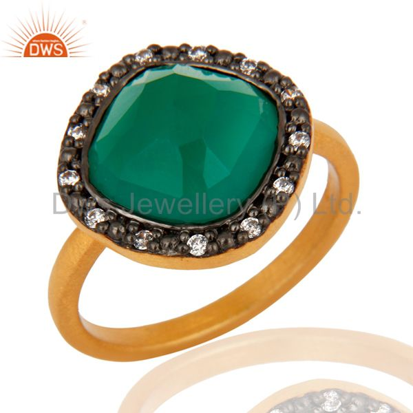 Green Onyx Gemstone 22K Yellow Gold Plated 925 Sterling Silver Ring With CZ