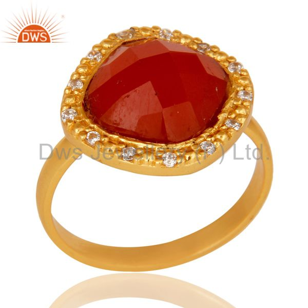 White Zircon & Red Onyx Semi Precious Stone Sterling Silver 18k Gold GP Ring