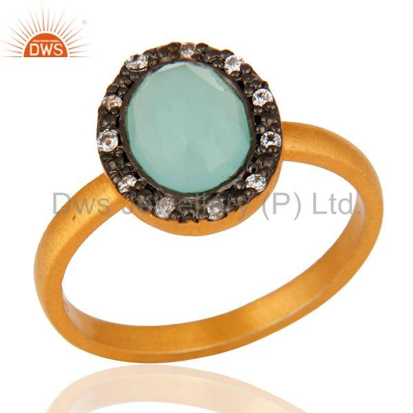 18K Yellow Gold Plated 925 Sterling Silver Blue Aqua Glass & White Zircon Ring